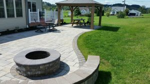 firepit on stone patio