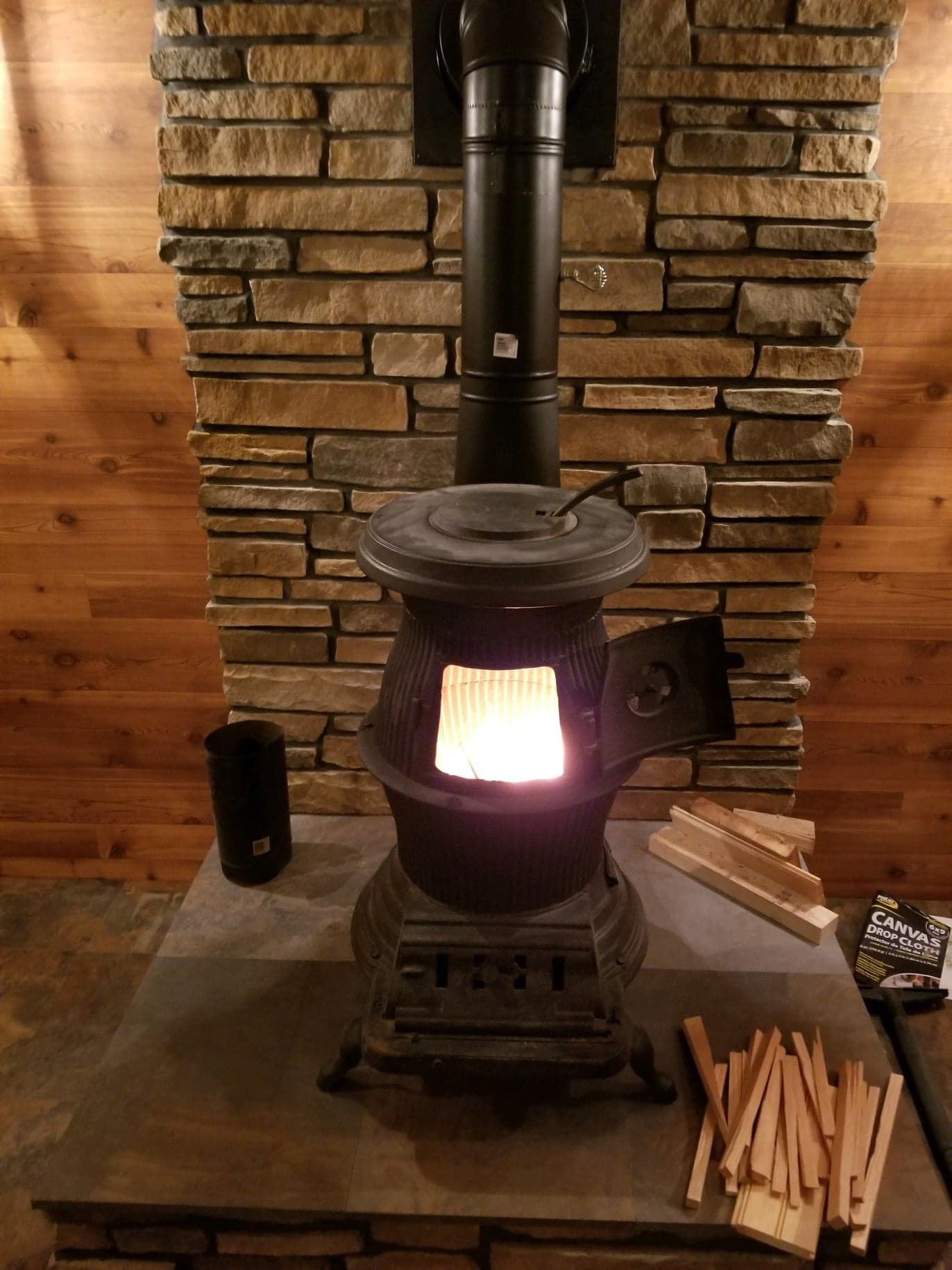 stove fire stone wall decoration