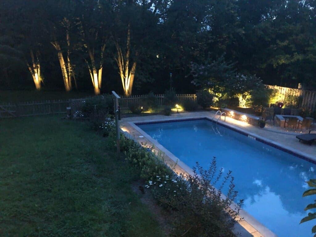 beautiful yard and pool lighting