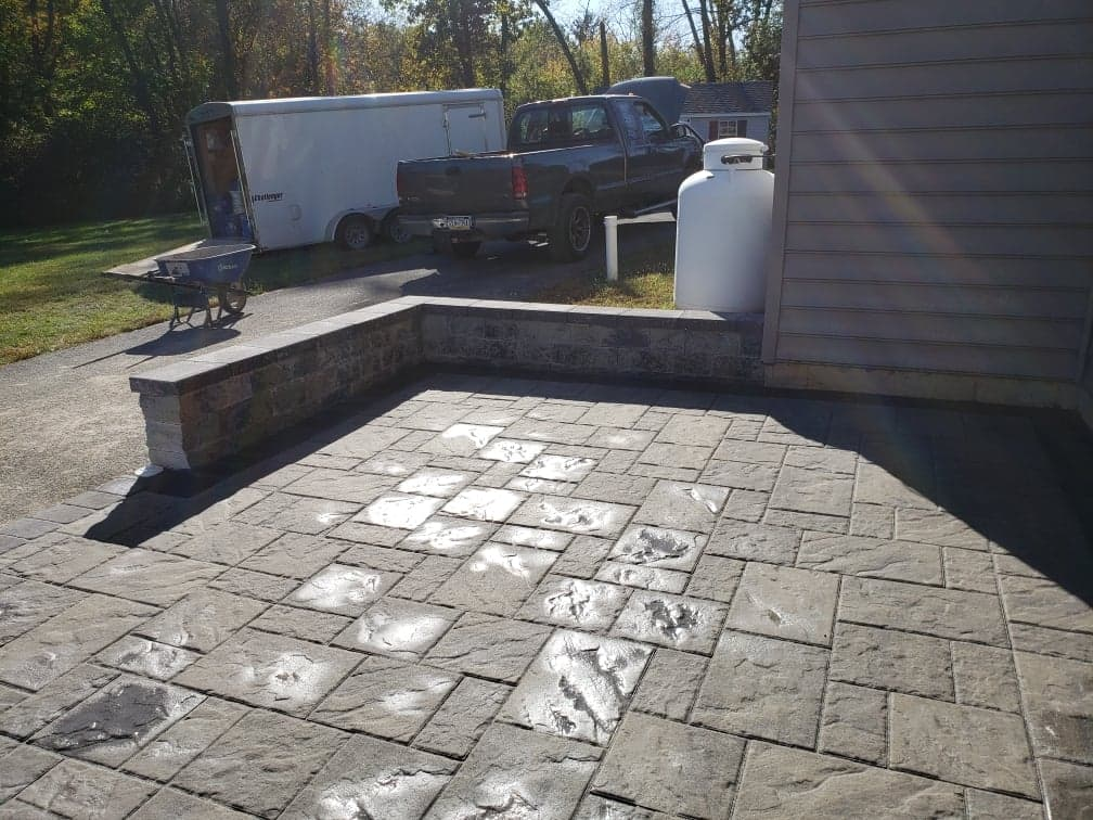 patio and stone wall