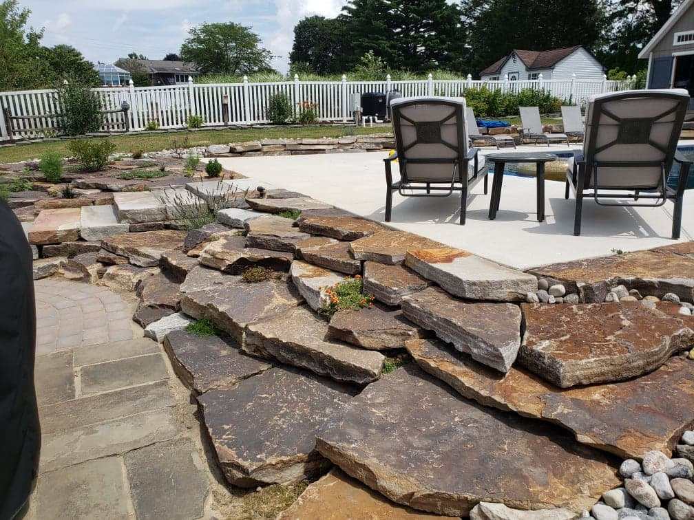 natural stone accent to patio