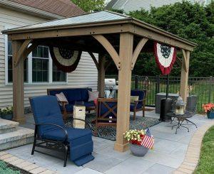 pergola and patio furniture