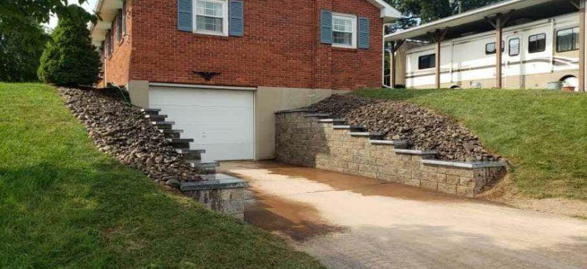 retaining walls beside garage