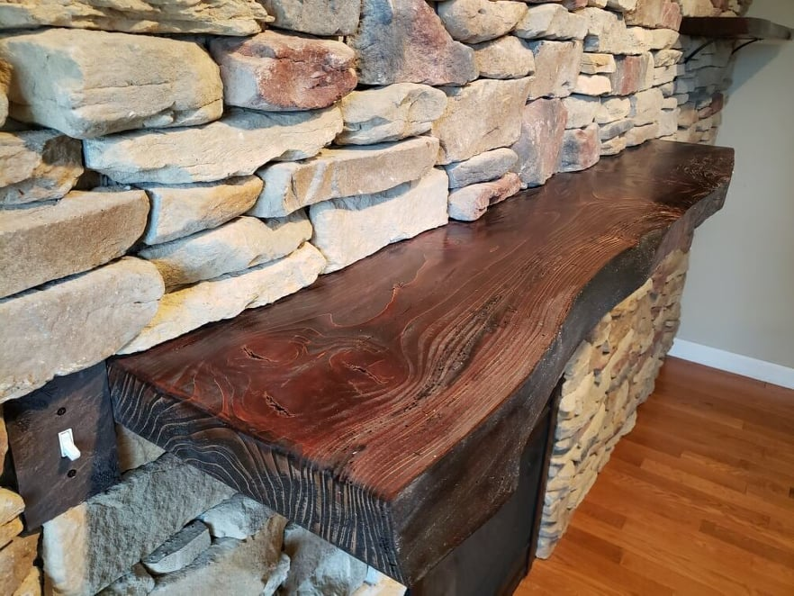 fireplace mantle - stone veneer