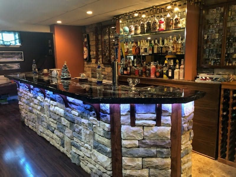 stone veneer basement bar
