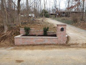 updated brick mailbox and garden bed